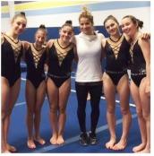 Alicia Sacramone and Jordana Albanese with teammates at Regional camp